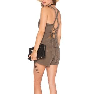 "Pam & Gela Army Lace Up ""Tie Back Romper"" Small"